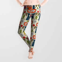 Swedish folksy cats and birds Leggings