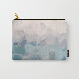 Teal Aqua Purple Lavender Abstract Wall Art Ocean Clouds Painting Print Carry-All Pouch