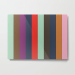 ASPIRATION : Aquamarine, Sepia, Purple, Indigo, Red, Aquamarine, Taupe, Indigo, Ochre,Nadeshiko Pink Metal Print
