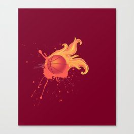 Grunge Flaming Basketball Canvas Print