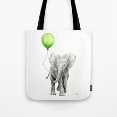 Baby Elephant Watercolor Green Balloon Neutral Color Nursery Decor Tote Bag