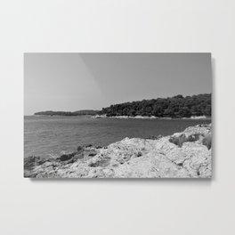 coastline bay at summer pula croatia istria black white Metal Print