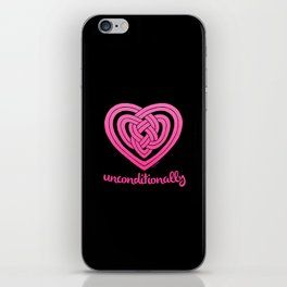 UNCONDITIONALLY in pink on black iPhone Skin