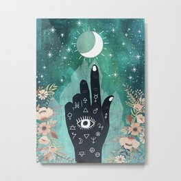 Alchemy hand and moon Metal Print