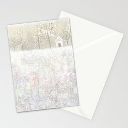 little house in the snow Stationery Cards
