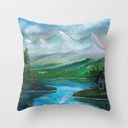 Pastel Skies Mountain Splendor Throw Pillow