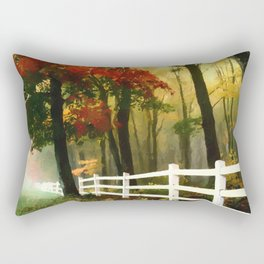 Fall scene with fence Rectangular Pillow