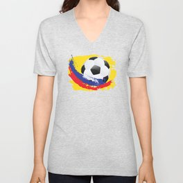 Football Ball and red, blue and yellow Strokes Unisex V-Neck