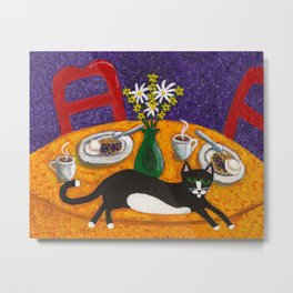 Tuxedo Cat and Coffee on a Colorful Table Metal Print