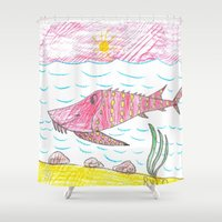 tennessee Shower Curtains featuring Tennessee Lake Sturgeon by Ryan van Gogh