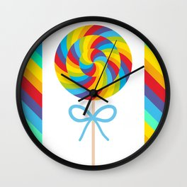 candy lollipop with bow, colorful spiral candy cane Wall Clock