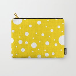 Mixed Polka Dots - White on Gold Yellow Carry-All Pouch
