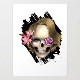 Skull_face flowers Art Print