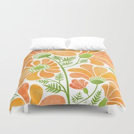 Happy California Poppies / hand drawn flowers Duvet Cover