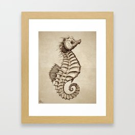 """Fantasy Seahorse"" by Amber Marine ~ (Vintage) ~ Ink Illustration, (Copyright 2016) Framed Art Print"