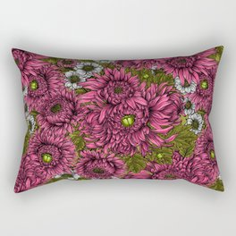 Pink and white chrysanthemum flowers and green bettles Rectangular Pillow