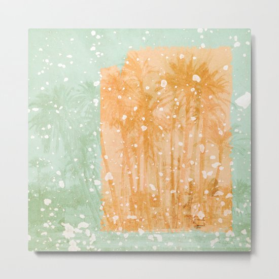 Palm Trees in Teal and Peach Metal Print