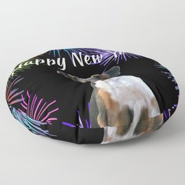 Jack Russell Dog - Happy New Year Fireworks Floor Pillow