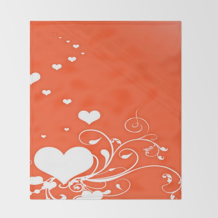 White Valentine Hearts On Red Background Throw Blanket