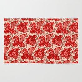 Pegasus Pattern Beige and Red Rug