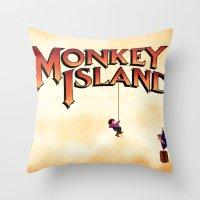 monkey island Throw Pillows featuring Monkey Island - Treasure found! by Sberla