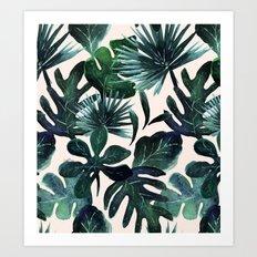Tropical Leaves - Deep Sea and Blush Art Print
