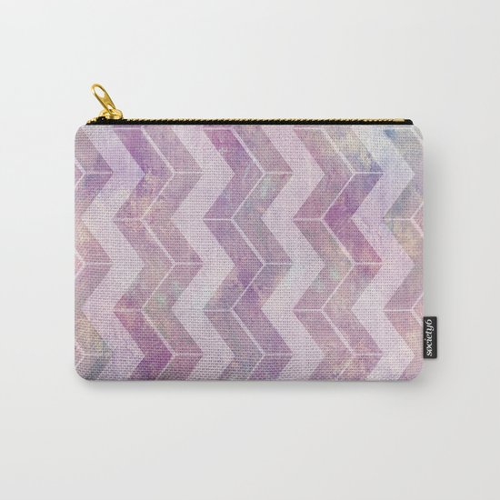 Watercolor pink pattern chevron Carry-All Pouch