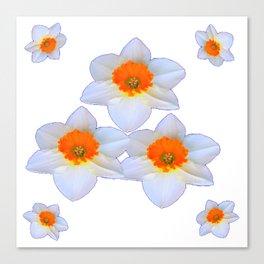WHITE SPRING DAFFODILS ON WHITE ART Canvas Print