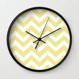Green-yellow (Crayola) - beije color - Zigzag Chevron Pattern Wall Clock