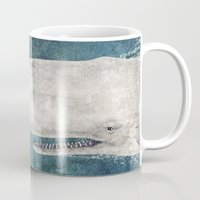 graphic Mugs featuring The Whale - vintage  by Terry Fan