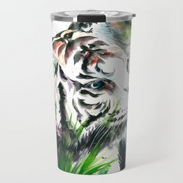 WHITE TIGER WATERCOLOR Travel Mug