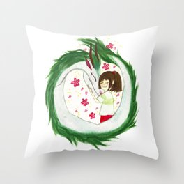 Watercolor Spirited Away - The Love Gathering Throw Pillow
