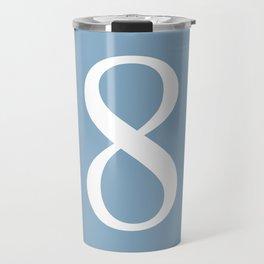 number eight sign on placid blue color background Travel Mug