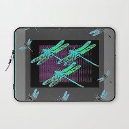 Western Black-Grey Blue Dragonflies Art Laptop Sleeve