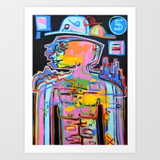 Jimmy Five Hats Art Print