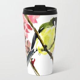 Great Tit and Spring Blossom Travel Mug