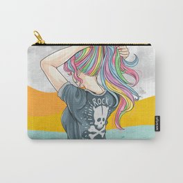 Hand drawn girl unicorn with rock and roll t-shirt style and hair in rainbow colors Carry-All Pouch