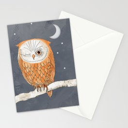 Winking Owl by the Light of the Moon Stationery Cards