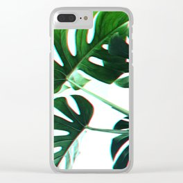 Botanical Monstera leaves Clear iPhone Case