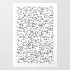 Funny sketchy white kitty cats Art Print