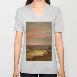 """John Constable """"A View on Hampstead Heath, Early Morning"""" Unisex V-Neck"""