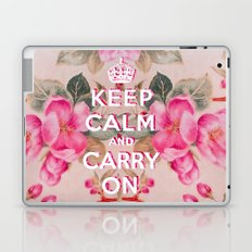Pink Girly keep Calm and Carry on Vintage pink elegant floral roses Laptop & iPad Skin
