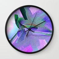 edgar allen poe Wall Clocks featuring Allen Poe by Brian Raggatt