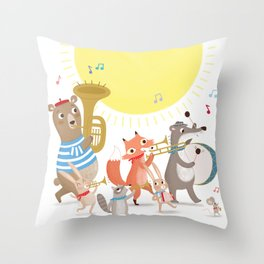 Children's Nursery Music Animal Band Throw Pillow