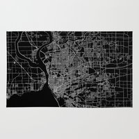 new york map Area & Throw Rugs featuring Buffalo map New York by Line Line Lines
