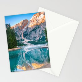 Misty Lake and Snow-cap Mountain Reflections Landscape Photograph Stationery Cards