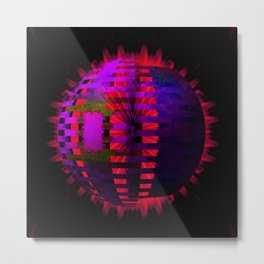 Purple Layered Star in Red Flames Metal Print