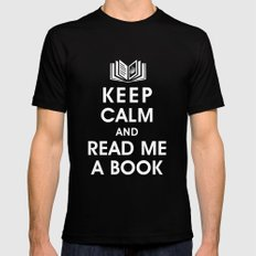 Keep Calm and Read Me A Book MEDIUM Black Mens Fitted Tee