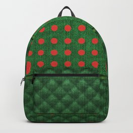 Christmas Green Quilt Pattern with Red Dots Backpack