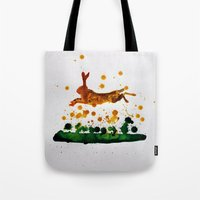 hare Tote Bags featuring Hare by Condor